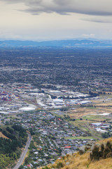 Vertical aerial of Christchurch, New Zealand harbour