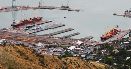 Aerial of Lyttelton harbor near Christchurch, New Zealand