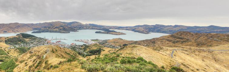 Panorama of Lyttelton harbor near Christchurch, New Zealand