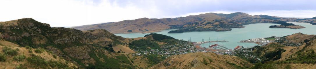 Panorama of Lyttelton near Christchurch, New Zealand