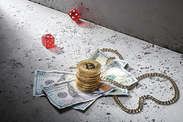 The Bit Coin Gamble: Bit Coin street craps game dice with Bitcoin 100 bills and gold necklace in pot