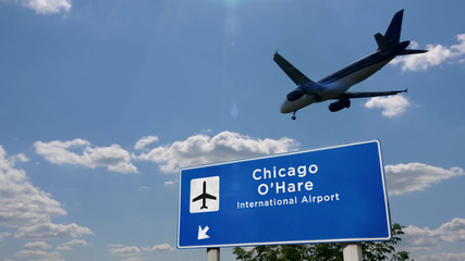 Plane landing in Chicago O'Hare with signboard Fototapete