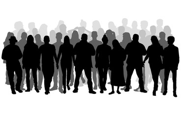 Group of people. Crowd of people silhouettes. Wall mural