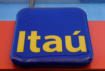 A logo of Itau bank is seen in a branch at Vina del Mar
