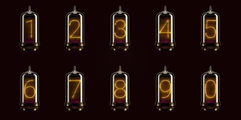 full set of numbers on vintage indicator lights gas lamps. Steampunk Dieselpunk Art Deco 3d Render