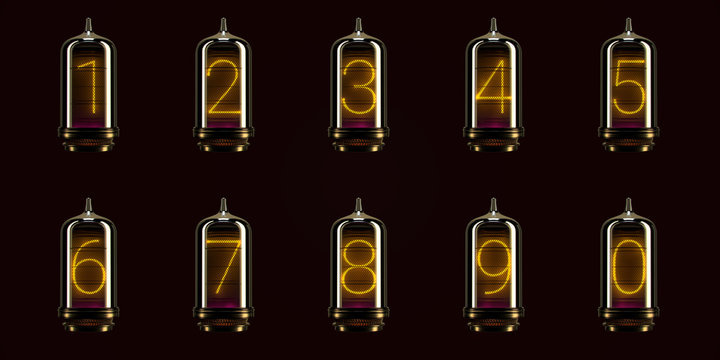 full set of numbers on vintage indicator lights gas lamps. Steampunk Dieselpunk Art Deco 3d Render