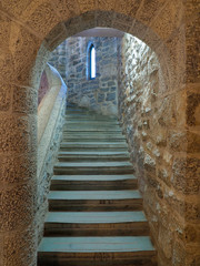Focus Stacked Image of an Arched Entrance to a Castle Stairwell