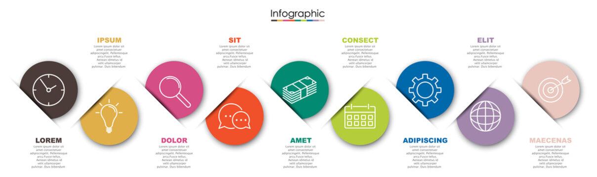Vector infographic template with nine steps or options. Illustration presentation with line elements icons.  Business concept design can be used for web, brochure, diagram
