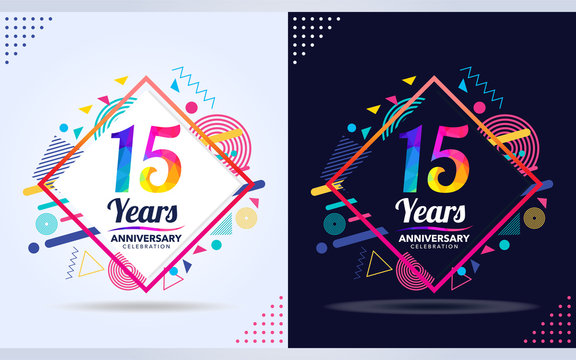 15 years anniversary with modern square design elements, colorful edition, celebration template design.