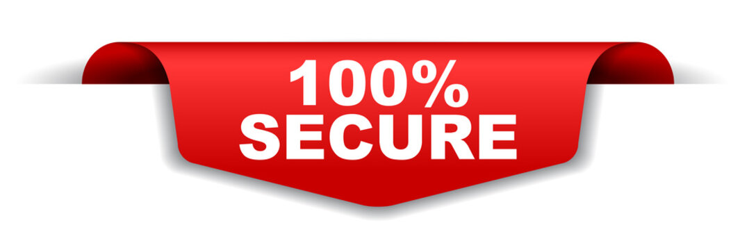 red vector banner 100% secure