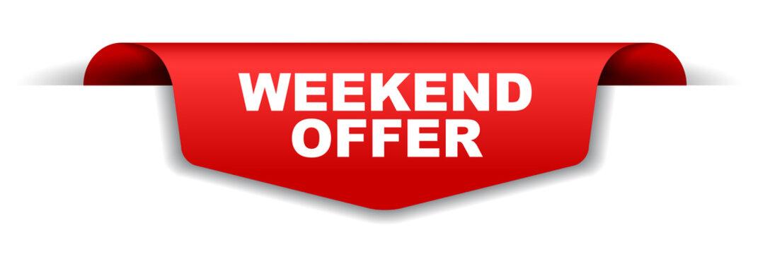red vector banner weekend offer