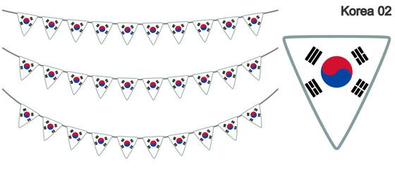韓国の国旗のガーラーンド ベクターデータ(bunting garland)