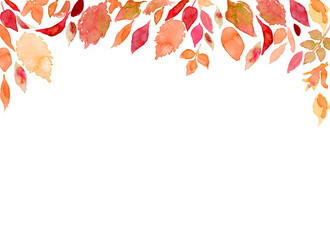 秋の多種多様な色づく葉 水彩 Wall mural