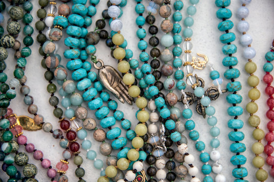 Close up detail of mala yoga meditation beads.