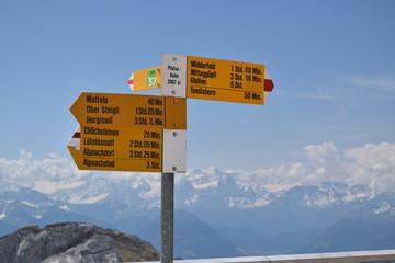 trail signs at Mount Pilatus, Switzerland