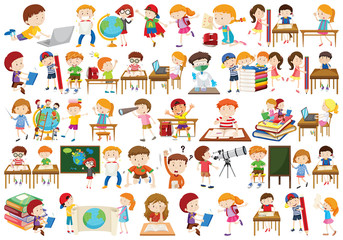 Boys, girls, children in educational fun activty theme
