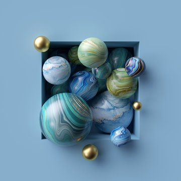 3d abstract background, assorted marble balls inside blue square niche