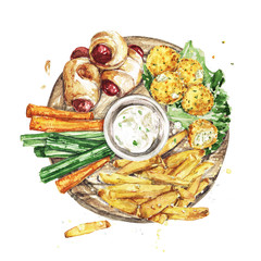 Bar Snacks Platter. Watercolor Illustration