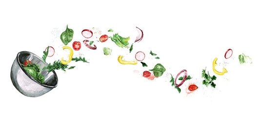 Foto op Aluminium Waterverf Illustraties Fresh Salad, flying ingredients. Watercolor Illustration