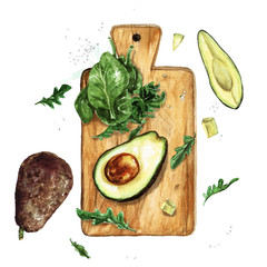 Avocado and Greens on a wooden board. Watercolor Illustration