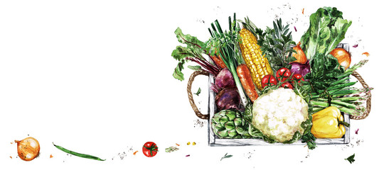 Foto op Aluminium Waterverf Illustraties Wooden Tray with Vegetables. Watercolor Illustration