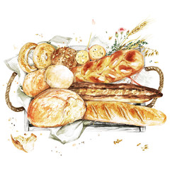 Wooden Tray with Bred. Watercolor Illustration