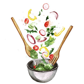 Fresh Salad, flying ingredients. Watercolor Illustration
