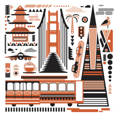 San-Francisco pattern simple illustration on white background