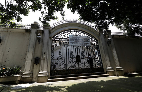 A exterior view shows the house of Chinese-Mexican businessman Zhenli Ye Gon, accused of working with drug cartels, before being auctioned by the Mexican government, during a media tour at  Lomas de Chapultepec upscale residential neighborhood