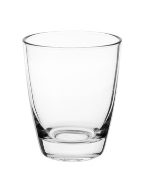 Empty clean drinking glass cup isolated on white background. With clipping path.