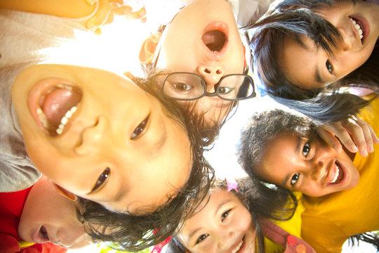 closeup Multi-ethnic group of schoolchildren face