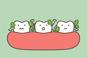 vegetable stuck in teeth, cause of decay tooth and bad breath - dental cartoon vector flat style