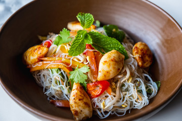 Glass Noodle or Mung Bean Noodle Spicy Salad with shrimp and squid.