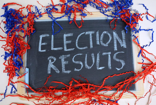Election results message on chalkboard