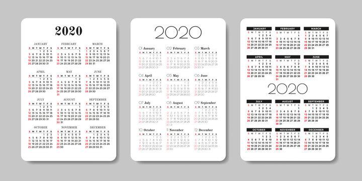 Calendar 2020. Vector design template.