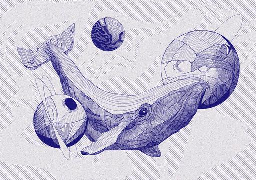 Baleine dans l'espace