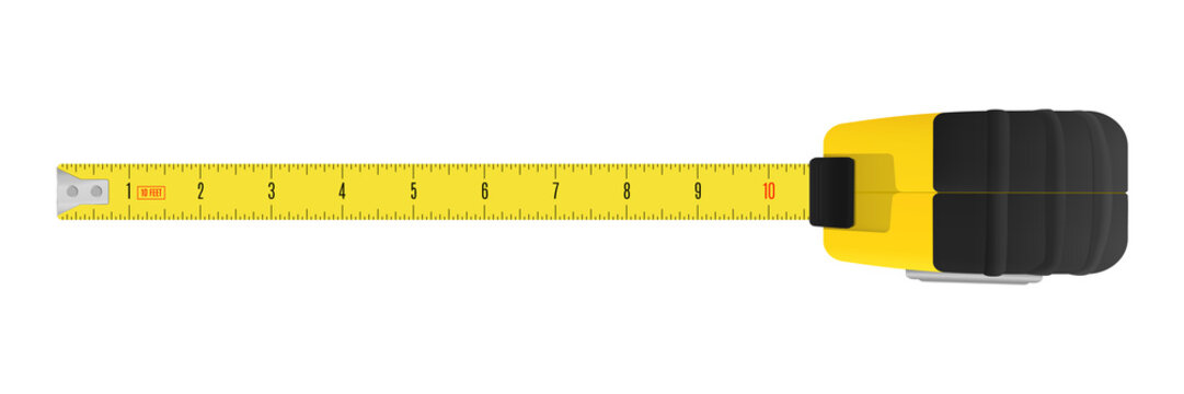 Yellow carpenter measuring tape with an imperial units scale.