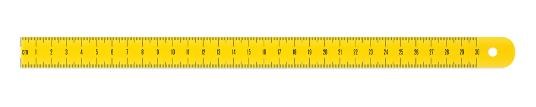 Engineer or architect plastic drafting ruler with a metric units scale.