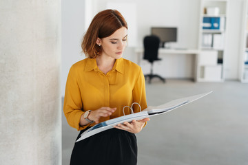 Young businesswoman consulting a large file