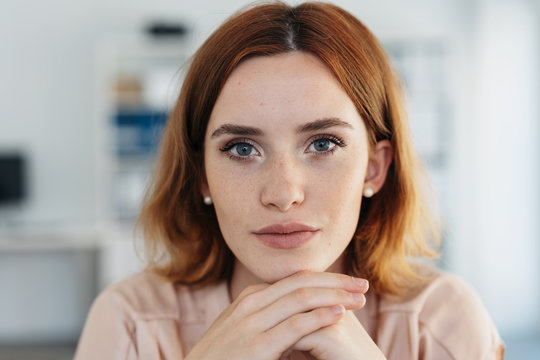 Close up portrait of the face of a young woman