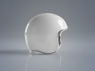 White vintage motorbike helmet isolated on grey background Mockup 3D rendering