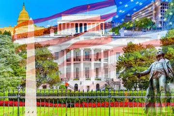 Washington, USA,The White House  South Lawn. Near White House is Basketball Court.
