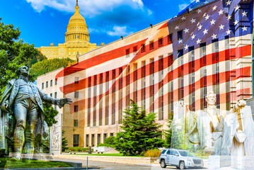 Urban cityscape of Washington, US District Court E. Barrett Prettyman United States Courthouse.