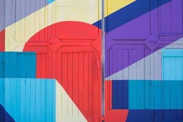 Foto auf Leinwand Graffiti City Riga, Latvian Republic. Colored wall, street graffiti. 2019. 24. July. Travel photo.