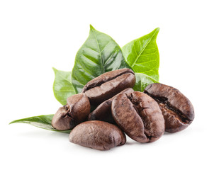 Coffee beans isolated on white background with clipping path