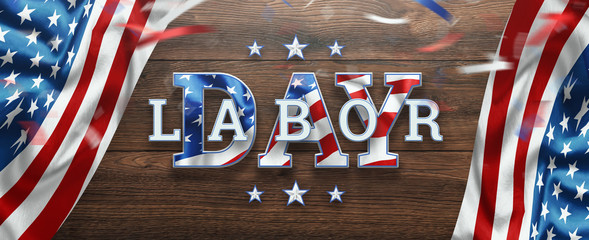 Flyer, Labor day sale promotion advertising. American labor day wallpaper. Discount, Design template. Copy space