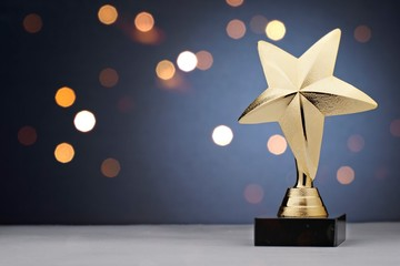 Gold star trophy for a winner or champion