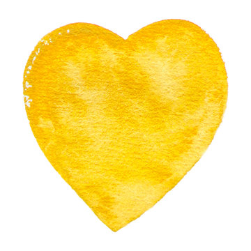 Vector yellow heart watercolor paint texture isolated on white for Your design
