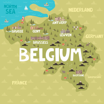 Illustration map of Belgium with city, landmarks and nature. Editable vector illustration