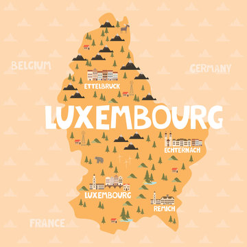 Illustration map of Luxembourg with city, landmarks and nature. Editable vector illustration